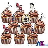 Juego de 36 adornos comestibles para tartas, diseño en forma de utensilios de barbero