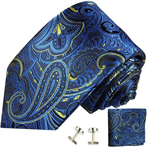 Cravate homme bleu jaune paisley ensemble de cravate 3 Pièces ( longueur 165cm )