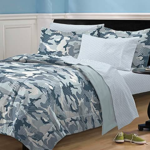 My Room Geo Camo Camouflage Comforter Set, Blue, Twin by My Room
