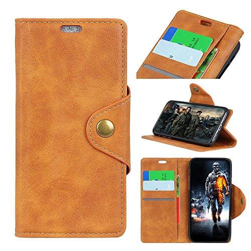 Sunrive Hülle Für Alcatel A7 XL 7071D, Magnetisch Schaltfläche Ledertasche Schutzhülle Etui Leder Case Cover Handyhülle Schalen Handy Tasche Lederhülle(Y-Gelb)+Gratis Eingabestift