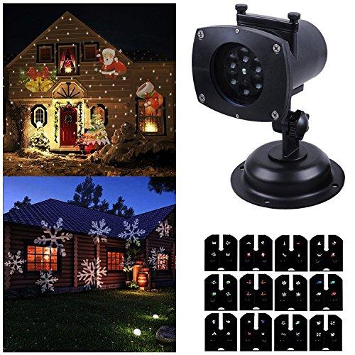 Ahyuan Navidad Decoración, 12 modos giratorio diapositivas conmutable proyector foco, impermeable LED paisaje luz exterior pared jardín,