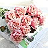 ZHANGYUSEN Künstliche Rose, Fake Blume Simulation Tisch, Blume Simulation Blume 10, Rosa Champagner