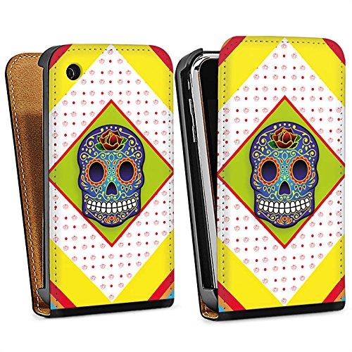 Apple iPhone 5s Housse Étui Protection Coque Crâne couleurs Abstrait Sac Downflip noir