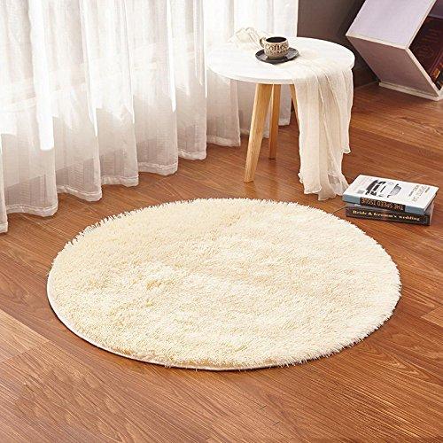 Benutzerdefinierte Türmatten (GRENSS Gras Grün runden Teppich Teppiche Yoga Wohnzimmer Teppich Kinderzimmer Teppiche weich und kuschelig warm, benutzerdefinierte Größe, Durchmesser 60,80,100,160 cm, Beige, Durchmesser 100 cm)