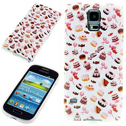 Handy Lux® Schutz Hülle Etui Silikon TPU Case Cover Design Motiv für Apple iPhone 4 / 4s - Cupcake Donuts (Iphone Cupcake Case)