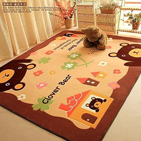 Lavadora lavar alfombra de oso dibujos animados alfombra sala mesa de centro alfombras verde antideslizante infantil juegos , brown bear , 130*185 cm