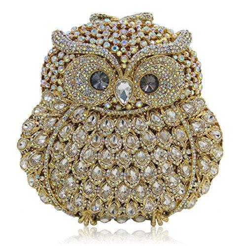 XYXM Ms Clutch Owl Lusso Handmade di diamante Pacchetto Pack di alta qualità Cristallo pieno borsa / banchetto , blue Gold