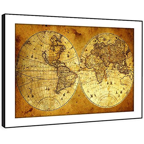 BFAB411c gerahmtes Bild Druck Wandkunst - alte Weltkarte im Alter von moderner Blick abstrakte Landschaft Wohnzimmer Schlafzimmer Stück leicht Wohnkultur Führungs hängen (58x41cm)