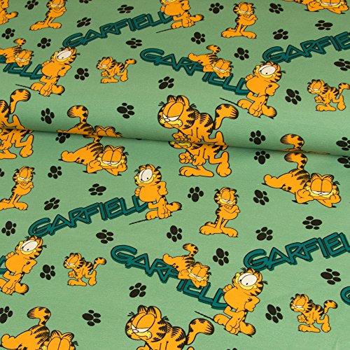 Stoffe Werning Baumwolljersey Lizenzstoff Garfield Pfoten pistazien grün Kinderstoffe GOTS Kater Katze - Preis gilt für 0,5 Meter (Fauler Bekleidung)