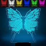 Mariposa 3d óptico Illusions Lámparas, fzai la 7Cambio de color acrílico Tocar Tabla de escritorio Luz nocturna con 150cm USB de cable para niños Dormitorio Regalos de Navidad, Cumpleaños