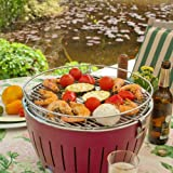 LotusGrill Holzkohlengrill Serie 340, Farbe Mandarine, 35 x 35 x 24 cm -
