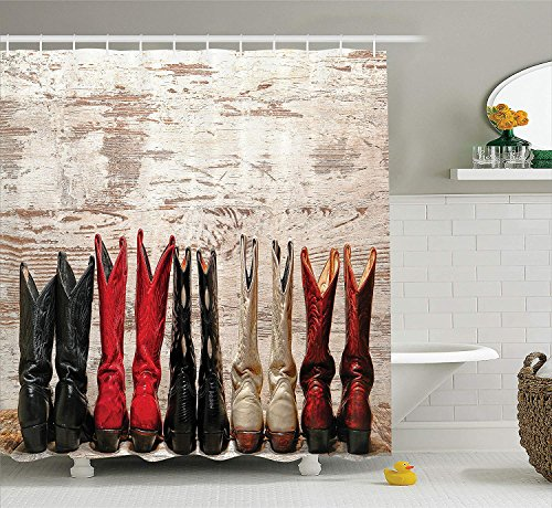 Western Decor Shower Curtain, American Legend Cowgirl Leather Boots Rustic Wild West Theme Cultural Folkart Print, Fabric Bathroom Set with Hooks, 66x72 inches, Long Beige Red Black