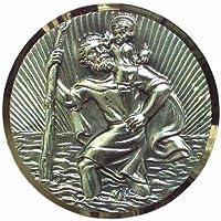 Cartrend 60152 Plaquette st. Christophe, argentée motifs en filigrane à éclats diamantés