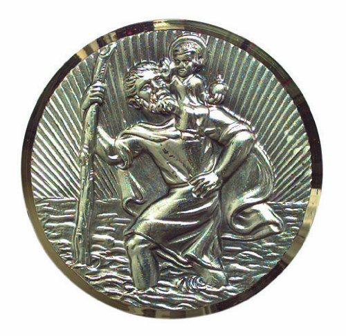 Cartrend 60152 Plaquette st. Christophe, argentée avec motifs en filigrane à éclats diamantés