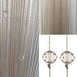 Timere Kristall Uni Quaste Tür Vorhang–Insektenschutz Saite für Türen Trennwand Oder Fenster Vorhang Panel 90x 200cm Ideal als Fliegengitter Champagnerfarben