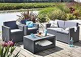 Koll Living Lounge Set Korsika in anthrazit, inkl. Sitzauflagen & Rückenkissen, langlebiger & wetterfester Kunststoff in Rattanoptik, 2 Sessel + 1 Sofa + Tisch
