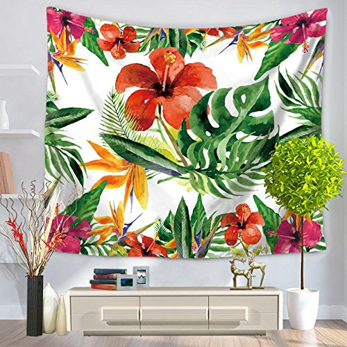 Multi-Funktion Wandteppich Wanddekoration Blütenmuster Hippie Boho Tapisserie Tropical Plant Blumen Green Leaf Strandtuch Urlaub am Meer, GT1093-1, 150*200