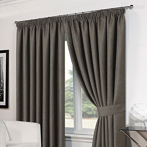 Dreamscene Luxury Basket Weave Blackout Thermal Lined Tape Top Curtains with Tiebacks – Charcoal, 66 x 54-Inch