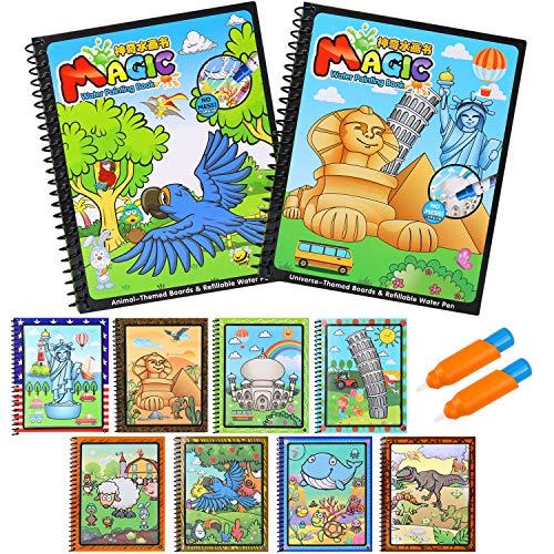 Juguete de pintura mágica del agua BBLIKE,2 Reutilizable libro de dibujo de agua para colorear con 2 pluma mágica bebé juguetes educativos para niños pintura escritura Doodle paño libro niños dibujo tablero