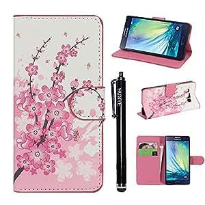 Hunye Custodia PU Pelle Portafoglio per Samsung Galaxy A5 (2015) Case Prugna Fiore Flip Cover con Stilo Penna