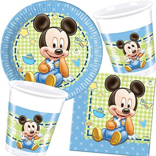 37-teiliges Party-Set * BABY MICKY MAUS * für Kindergeburtstag und Motto-Party // mit Teller + Becher + Servietten + Luftballons // Deko Dekoration Kinder Geburtstag Mickey Mouse (Dekorationen Mickey Geburtstag)