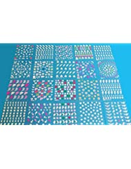 20 paquets de stickers 3D Nail Art assortis pour la décoration d'ongles, 20 planches X 50 stickers environ