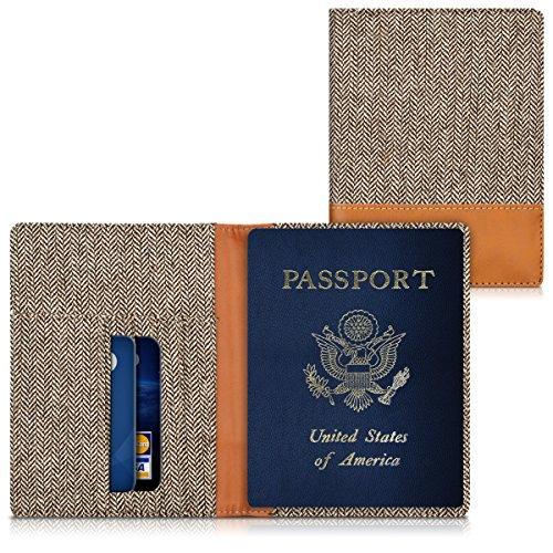 kwmobile Housse pour passeport Housse pour pièces d'identité Porte-cartes Cartes de crédit Portefeuille Similicuir Tissu Canvas Étui en gris foncé marron