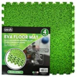 Ineinandergreifende Schaumstoff-Fliesen/ EVA-Bodenmatten inklusive Kanten,auch toll als Spielmatte für Kinder, Bodenbelag-Set, Grasgrün, 1 Pack (4 Floor Mats)60x60cm