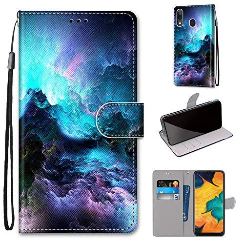 Miagon Flip PU Leder Schutzhülle für Samsung Galaxy A20/30,Bunt Muster Hülle Brieftasche Case Cover Ständer mit Kartenfächer Trageschlaufe,Wolke