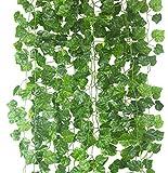 Kunstpflanzen zum Aufhängen, 25,5m, Seide, Efeugirlande, grüne Blätter, für Zuhause / Küche / Garten / Büro / Hochzeit / Wand / Treppengeländer / Kostüm, Dekoration, 12Stück Grape leaves