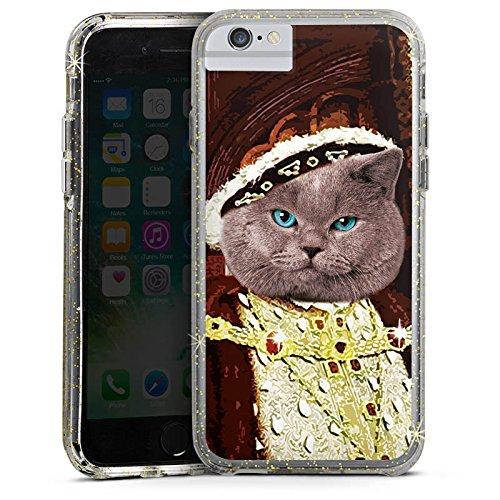 Apple iPhone X Bumper Hülle Bumper Case Glitzer Hülle Kater Edelmann Katze Cat Bumper Case Glitzer gold