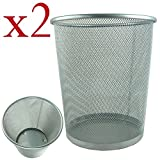 2 x Lightweight and Sturdy Circular Mesh Waste Bin (Silver)