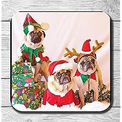 Lindos perros Pug de renos de Papá Noel y púgil posavasos - regalo, cumpleaños, calcetín de Navidad relleno, Santa secreto