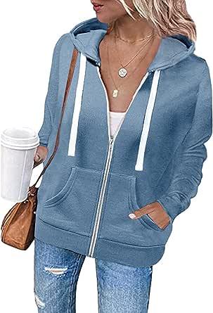 Tomwell Sweat à Capuche Femme Hoodies Chaud Zippé à Manche Longue Veste Manteau avec Poches Grande Taille Sport Casual Classic Sweatshirt Automne à Capuche Veste Femmes