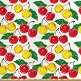 ABAKUHAUS Obst Satin Stoff als Meterware, Grafik farbige