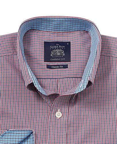 Savile Row Men's Navy Red Check Classic Fit Casual Shirt Navy Red