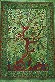 World breit Kart indische Tree Of Life Poster Grün Tie Dye Baumwolle LOVE BIRDS Wandteppichen Poster Größe 76,2x 101,6cm Decor Überwurf Hippie Deko Bohemian Beach Baumwolle Überwurf Yogamatte Art