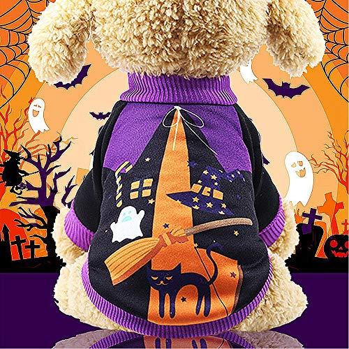 WAXDEOLM Halloween - kürbis verwandelt Sich in eine Hexe kostüm an Weihnachten Alter Hund,S,Lila (Kostüm Lila Hexe)
