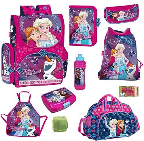 Disney die Eiskönigin Schulranzen-Set 10-TLG. Sporttasche Federmappe Dose/Flasche Regenschutz Frozen