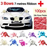 TtS Ivory Wedding Car Ribbon  Red Silk Rose Petal (3 Bows 7 metres Ribbon )