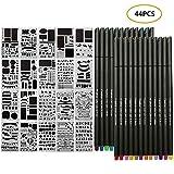 Set di 44 Stencil Bullet Journal e Penne Fineliner per Quaderni Colorati, Penne per Schizzi, Scrittura e Disegno, per Appunti, Libri da Colorare