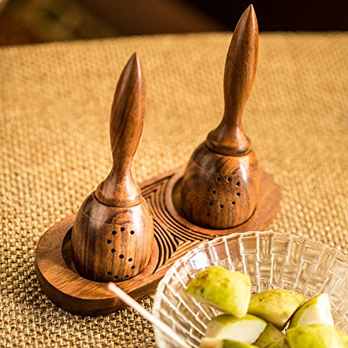 ExclusiveLane Unique Slanting Salt & Pepper Shaker with Tray in Sheesham Wood – Salt and Pepper Mixer Table Top Dinning Table Accessories