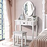 UEnjoy White Dressing Table with Mirror and Stool Makeup Vanity Table Bedroom Furniture