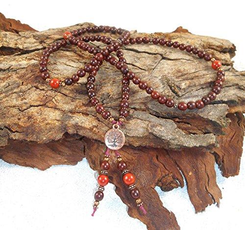 red-sandalwood-from-india-aromatic-wood-necklace-108-mala-tree-of-life-buddhist-jewellery-healing-ne
