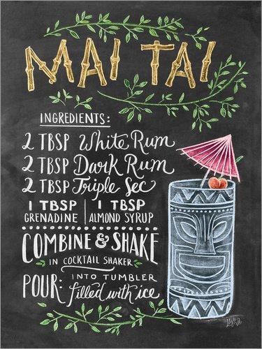 Posterlounge Leinwandbild 70 x 90 cm: Mai Tai Rezept (Englisch) von Lily & Val/MGL Licensing - fertiges Wandbild, Bild auf Keilrahmen, Fertigbild auf echter Leinwand, Leinwanddruck