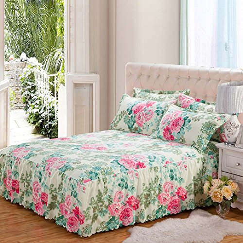 Fitted Sheet with Valance Queen Size 150 x 200cm Non-slip Anti-pilling Bed Skirt Bedspread Twill Romantic Flower Printing Polyester-Cotton Rose