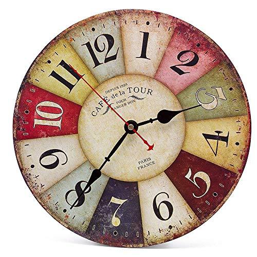 Vintage Holz Wanduhr,30 cm Retro Holz Große Ziffern Uhr,Geräuschlose Stumm Nein Tick Tack Geräusch Wanduhr für Küche,Wohnzimmer Deko
