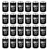 Shop4Ever Cheers & Beers to 50 Years Can Coolie Birthday Drink Coolers Coolies Black - 24 Pack