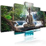 murando Bilder 200x100 cm - Leinwandbilder - Fertig Aufgespannt - Vlies Leinwand - 5 Teilig - Wandbilder XXL - Kunstdrucke - Wandbild - Buddha Landschaft Natur Wasserfall Baum Wald Rose c-A-0021-b-n