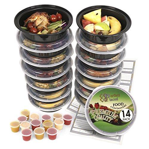 [14Stück] rund BPA-frei Mahlzeit Prep Container. Wiederverwendbar Kunststoff Lebensmittel Behälter mit Deckel. Stapelbar, Mikrowelle, Gefrierschrank & spülmaschinenfest Bento Lunch Box Set + Ebook [680ml] + Gratis 14Sauce/Dressing Tubs & 14Etiketten (Bento-sauce)